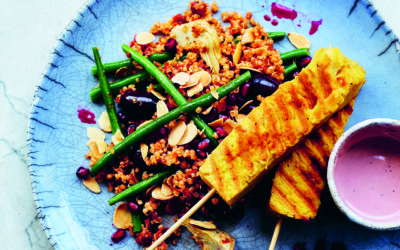 Vegan Tempeh Satay Skewers – Yoga Kitchen Plan Recipe by Kim Parsons